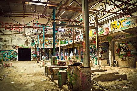 opustili, zdrobljen, stavbe, zastareli, umazano, grafiti, tla