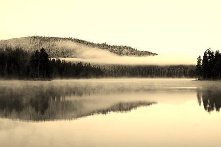 Lago, nebbia, simmetria