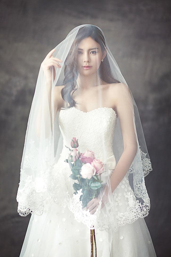 Kāzu kleitas, modes, rakstzīme, līgava, plīvuru, baltu kleitu, jaunā sieviete
