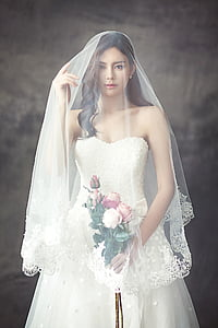 wedding dresses, fashion, character, bride, veil, white dress, young woman