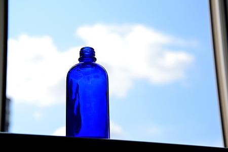 finestra, ampolla blava, blau, núvol, cel, ampolla, beguda