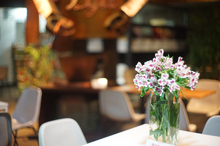 квіти, кафе, Натюрморт