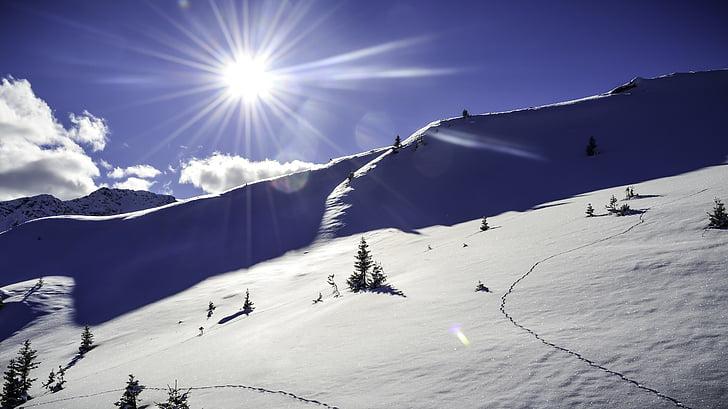 snow landscape, winter, snow, new zealand, sun, sky, winter mood