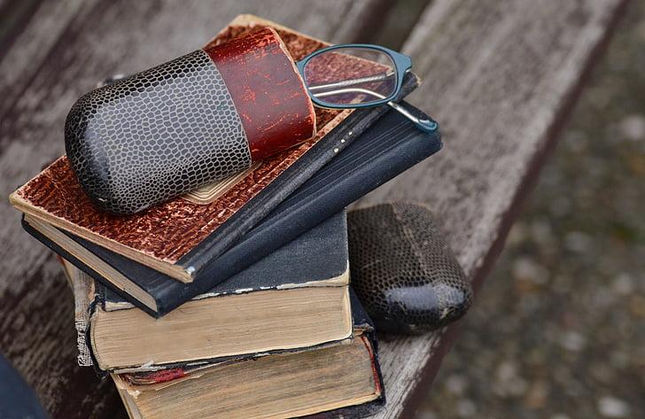 llibres, vell, mobles, ulleres, cas d'ulleres, llibres antics, llegir