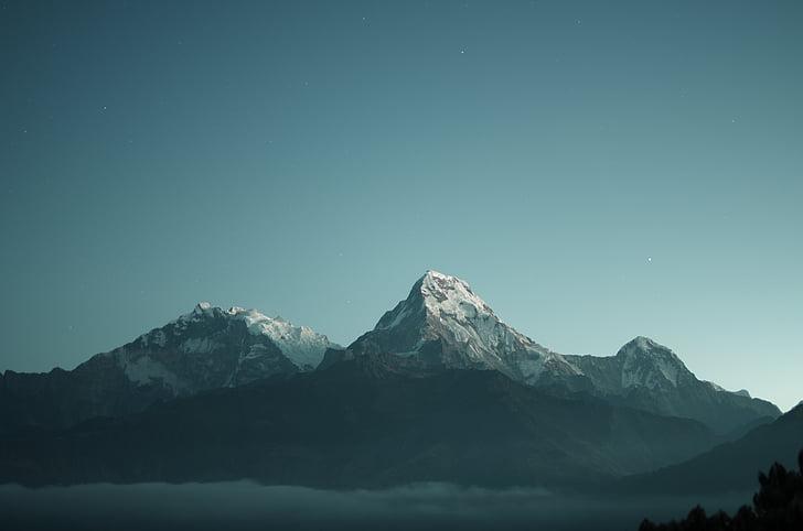 mountain, photo, sky, snow, mountain range, hill mountain, outdoors