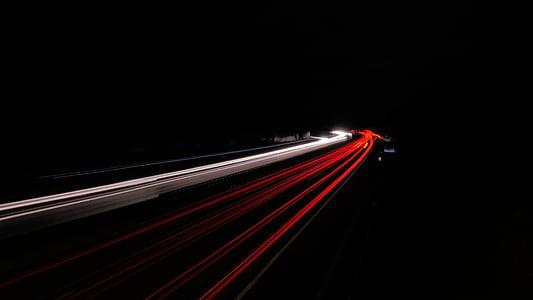 đèn chiếu sáng đường cao tốc, đêm, đường cao tốc, đường, tự động, lưu lượng truy cập, tốc độ
