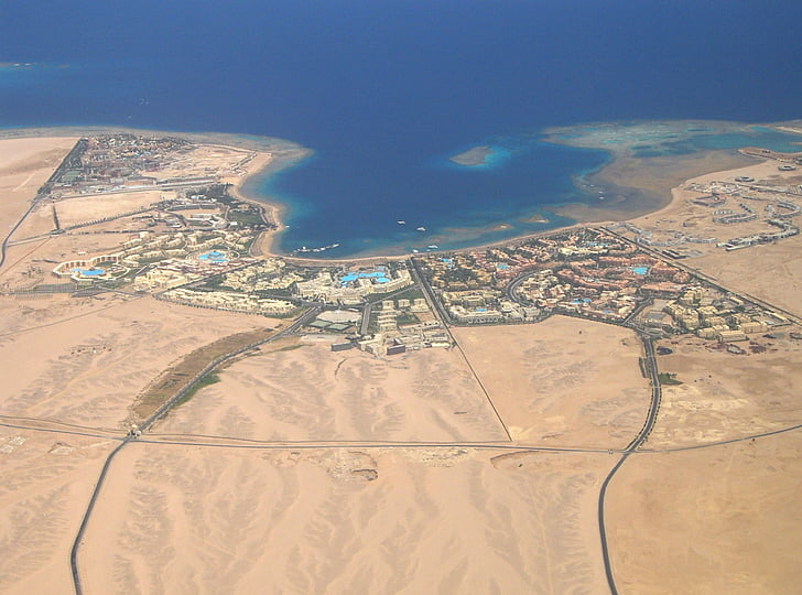hurghada, view, from the plane, aerial View, flying, airplane, land