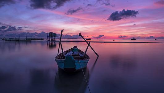 ビーチ, クラウド, 色, カラフルです, 夜明け, 今晩, 島