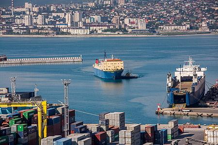 hamn, fartyg, havet, staden, Bay, Novorossiysk, Pier