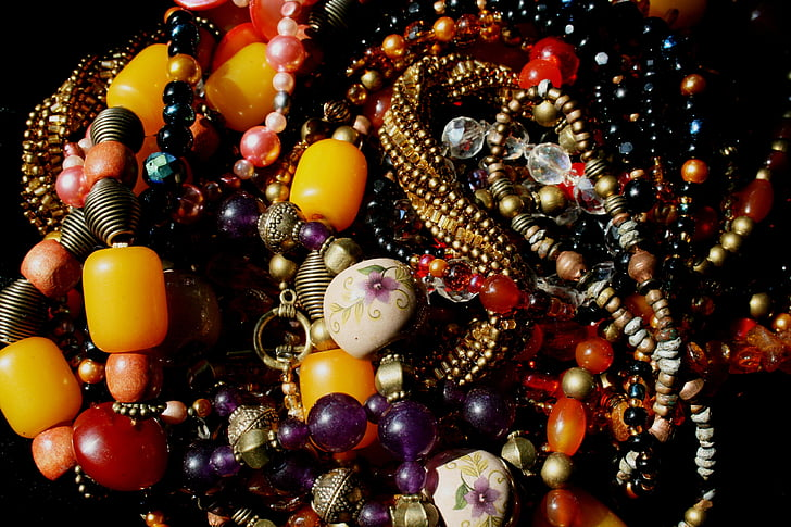 perler, perle halskjeder, multi-farget, Amber, Ametyst, glassperler, rød