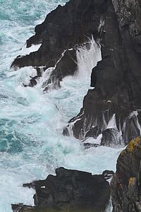 rocks, waves, ocean, coastline, atlantic, ireland