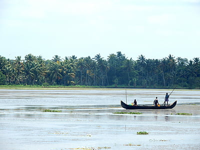 fisherman, boat, river, fishing, water, lake, nature