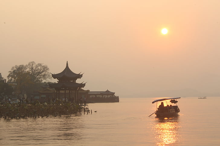 pleasure boat, west lake, sunset, lake