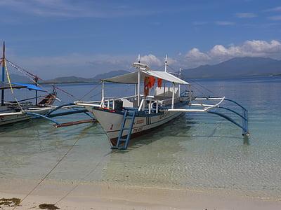 vaixell, vaixell de pesca, riba, platja, l'aigua, oceà, veure