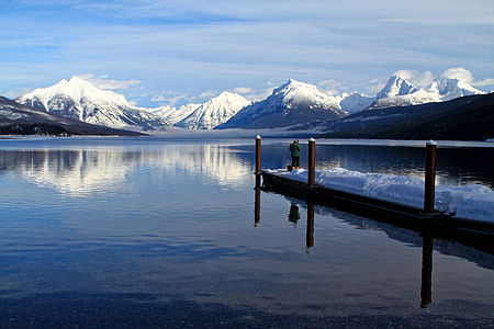 winter fishing, fishing, boat dock, winter, snow, landscape, scenic