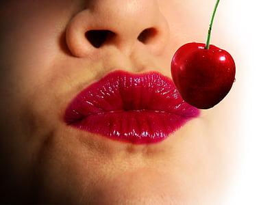 lábios, beijo, vermelho, amor, beijo boca, batom, boca