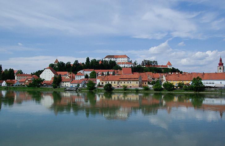 slovenia, ptuj, lake, tiles, reflections