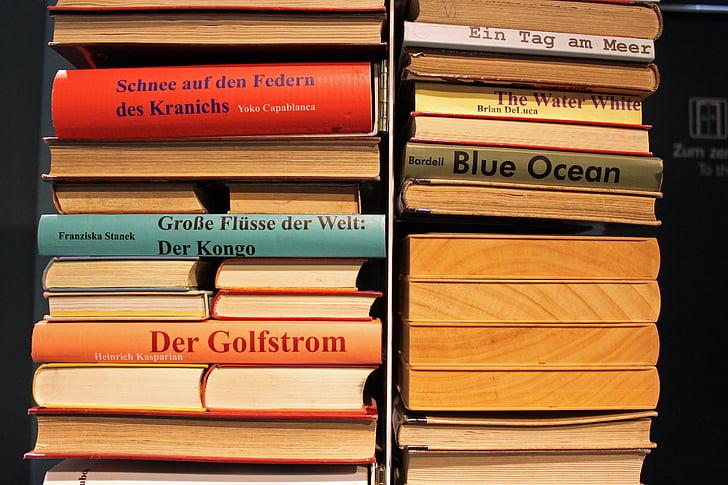 llibres, llibre, apilada, literatura, llibres usats, pila, Biblioteca