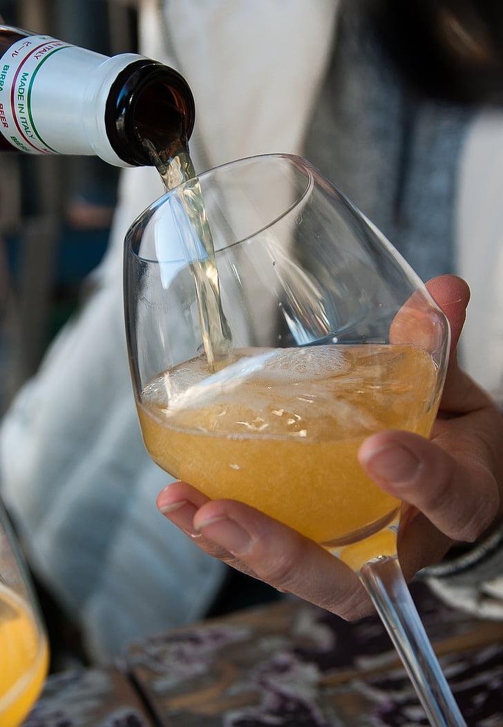 cervesa, vidre, terrassa de cafè, beguda, ampolla, l'alcohol, abocar