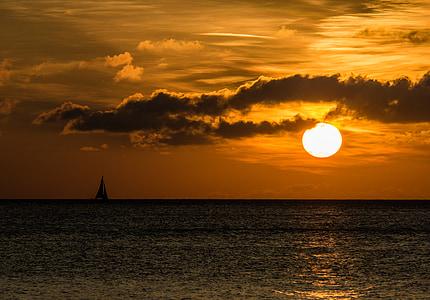 matahari terbenam, awan, laut, boot, Laut Baltik, abendstimmung, matahari