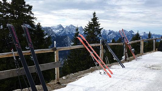 Allgäu, Füssen, téli, backcountry skiiing, Tegelberg, panoráma