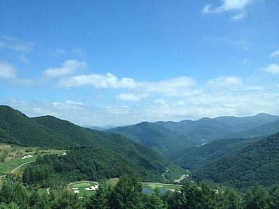 muntanya, fer de Gangwon, elecció, complex, núvol, cel, pics