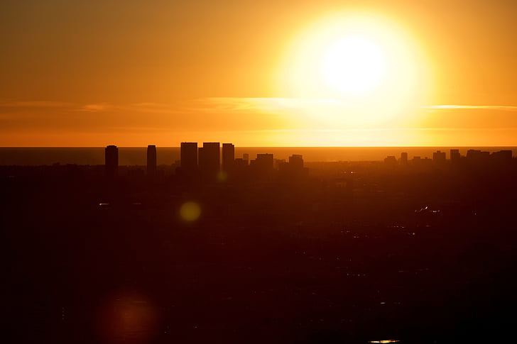 Skyline, solnedgång, soluppgång, arkitektur, stadsbild, skyskrapa, Panorama
