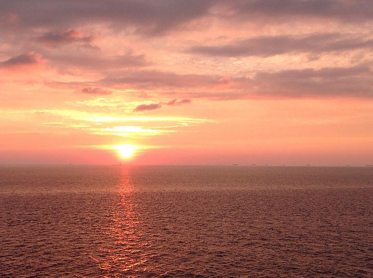 sunrise, morgenstimmung, sun, sea, ocean, wave