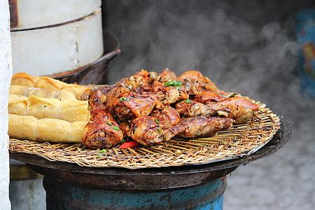 Cinese, cibo, barbecue, involtini primavera, Autdoors, Cina, alla griglia