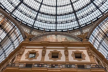 Milano, finestra di vetro macchiata, Galleria, soffitto, finestra