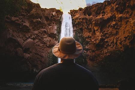 vodopády, Příroda, voda, Rock, muž, Guy, klobouk
