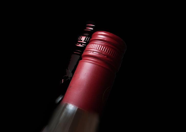 viinipullo, pullonkaula, viini, alkoholin, juoma, pullo, Punaviini
