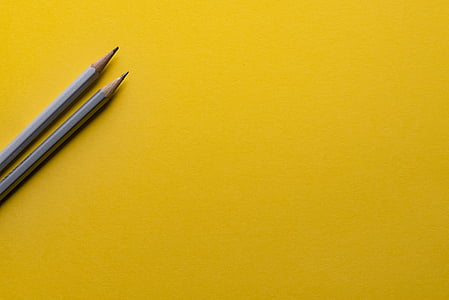 two, gray, pencils, yellow, business, drawing, writing