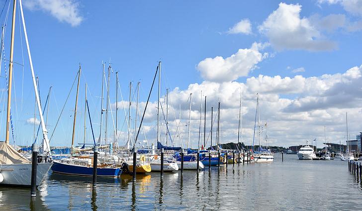 Yacht, segelbåtar, hamn, fartyg, segelfartyg