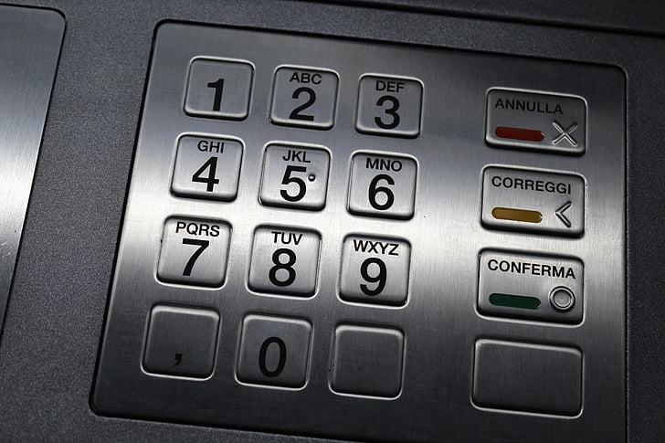 teclat d'ATM, teclat, números, lletres, codi
