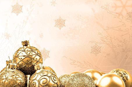 dekorasi, emas, waktu Natal, Natal baubel, kartu Natal, putih, kilauan