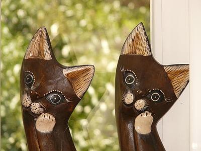 猫, 木製猫, 図, 子猫