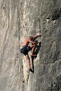 rock climbing, altmühl valley, riedenburg, mountaineer, climber, rock wall