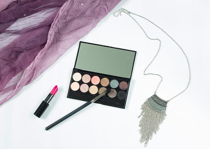 maquillatge, cosmètica, joieria, llapis de llavis, ombra, pintura de l'ull, pintura