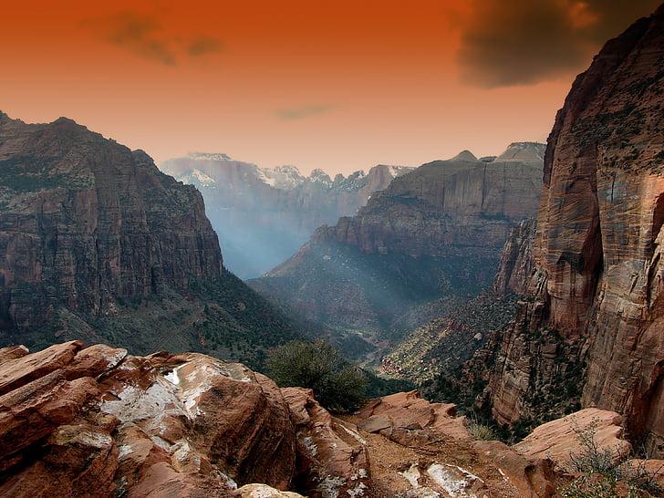 Zion park, Utah, bergen, landskap, natursköna, solnedgång, soluppgång
