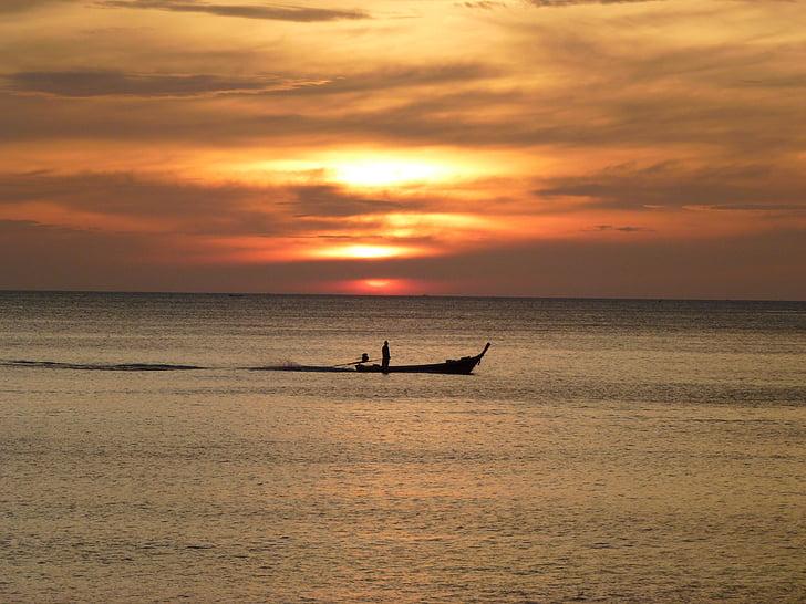 coucher de soleil, mer, océan, marines naturelles, bateau nautique, nature, plage