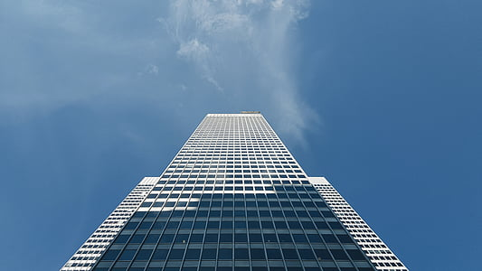 skyscraper, sky, blue, building, business building, architecture, modern