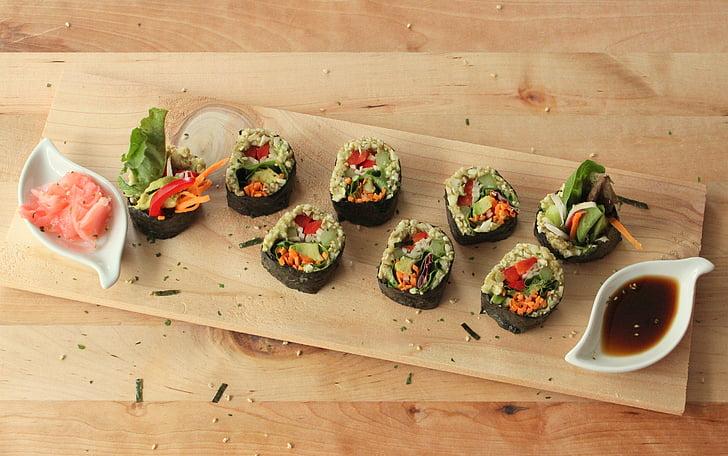 Sushi, veganski, sirovi, svježe, hrana, đumbir, umak od soje