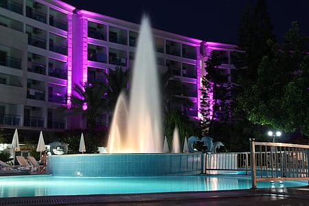 Çeşme, otel, Havuzu, tatil, su, yüzmek, palmiye ağaçları