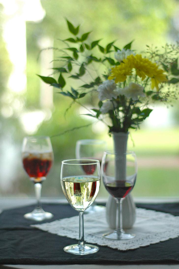 вино, цветя, дегустация, вкус, напитки, фон, червен