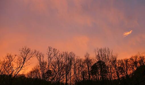 vakarā, debesis, krēslas, saulrieta debesīm, debess mākoņi, mākoņi debesīs, saulriets