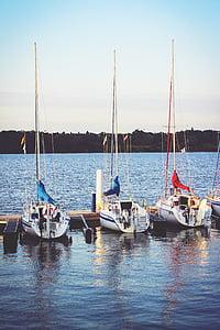 bateaux, Lac, port, rivière, bateaux à voiles, mer, bateau nautique