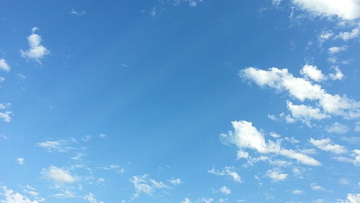 небе, облаците, синьо небе фон, светъл