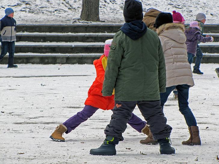 kids, game, winter