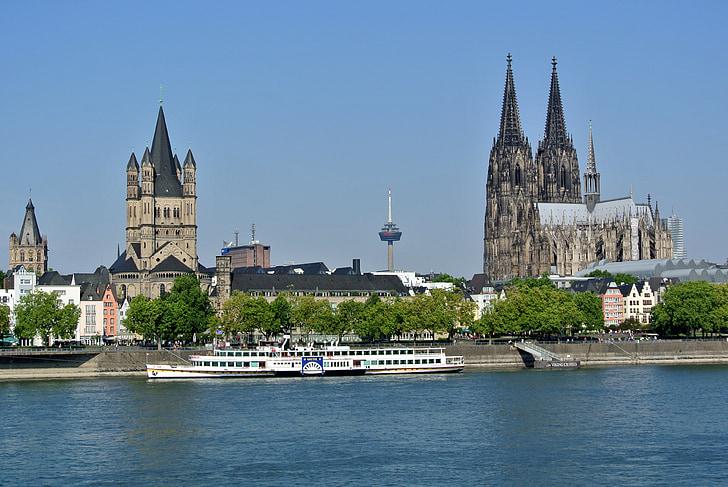 Cologne, sông Rhine, Dom, Nhà thờ Cologne cathedral, Cologne trên sông rhine